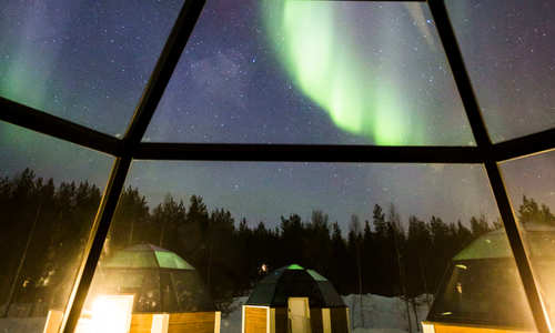 Interior and Northern Lights, Glass Igloo