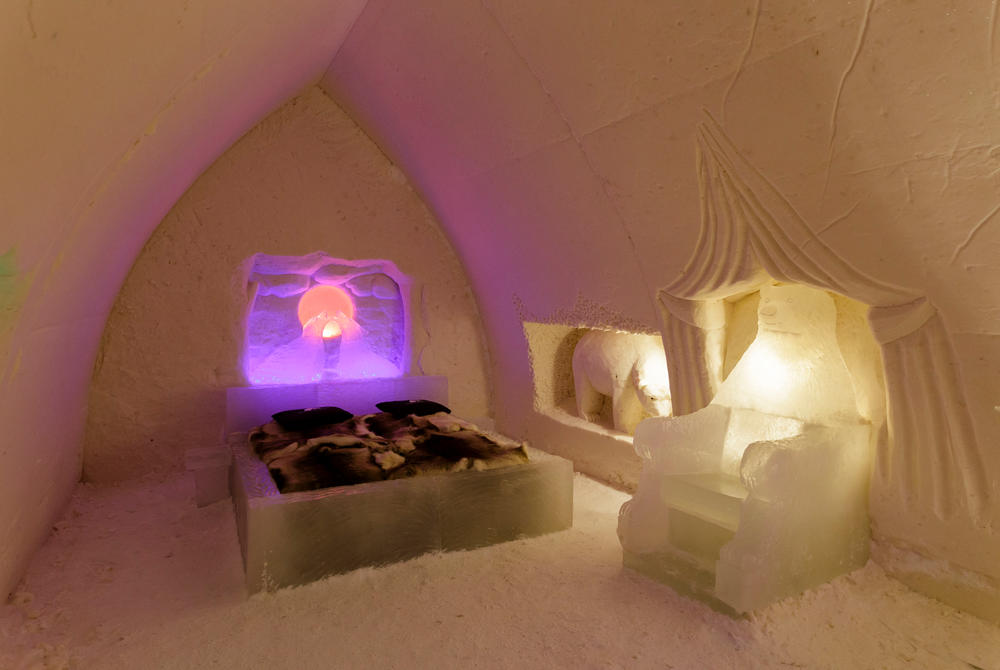 Snow room at Arctic Snowhotel & Glass Igloos in Finland