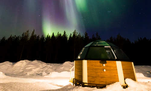 Northern Lights and Glass Igloo
