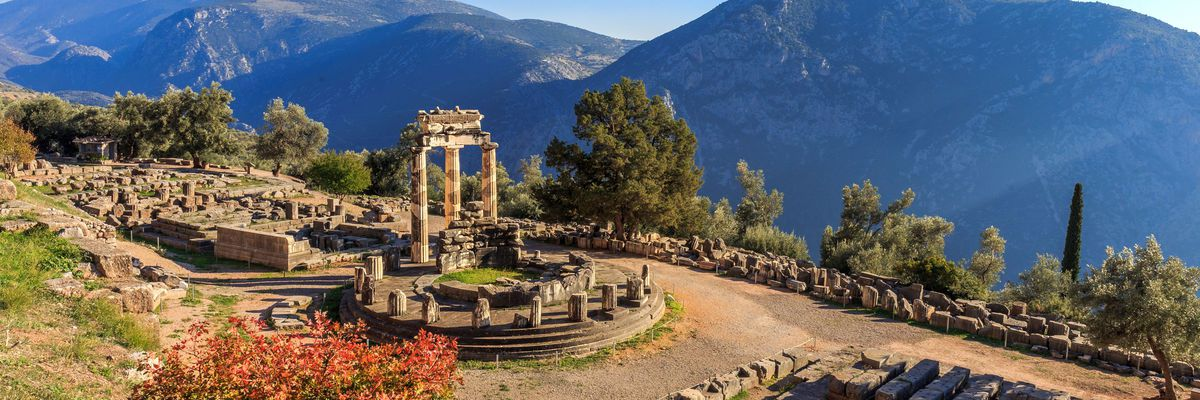 Athina Pronaia temple ruins in Ancient Delphi