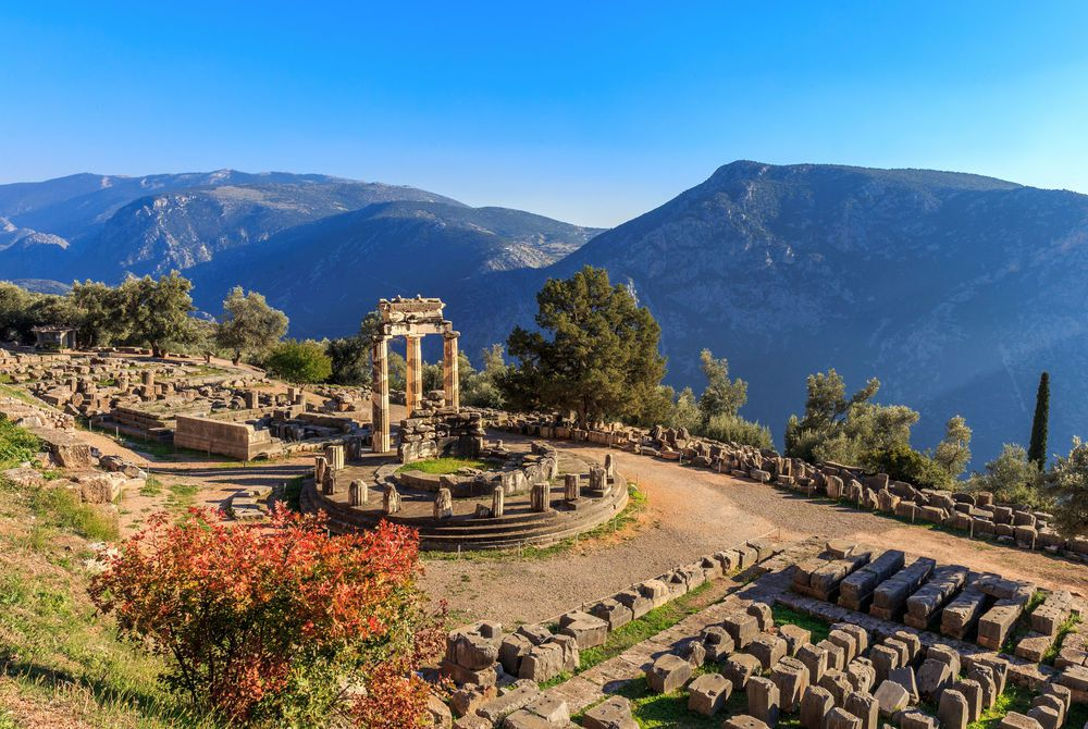 Athina Pronaia temple ruins in Ancient Delphi