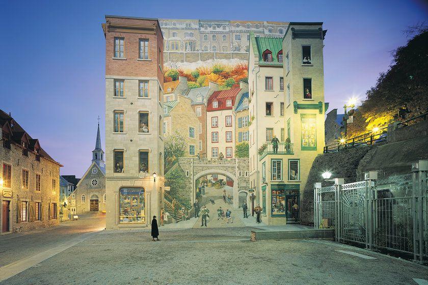 Exterior mural at Auberge St Antoine