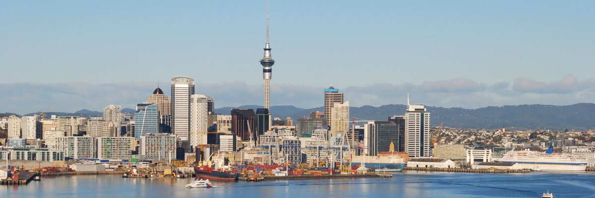 Auckland skyline with harbor, New Zealand