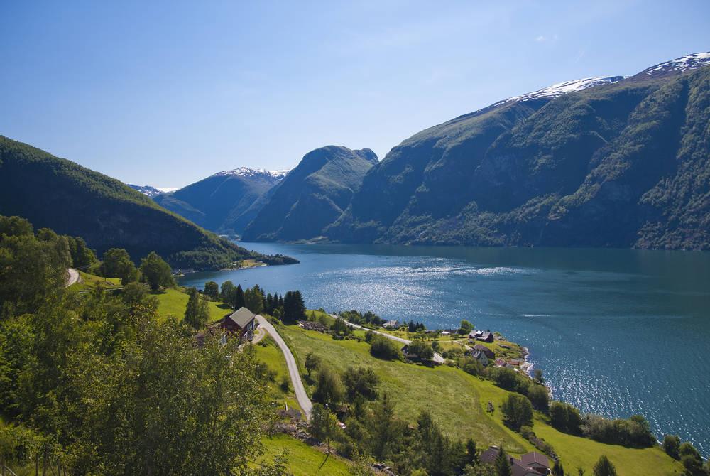 Aurlandsfjord in Aurland, Norway
