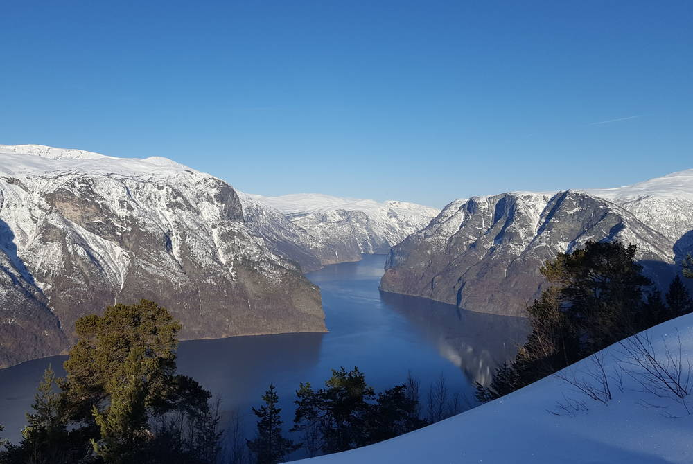 Aurlandsfjord in winter, Norway