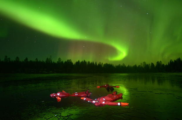 Aurora floating in Finnish Lapland