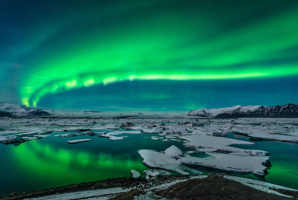 Northern Lights over Jokulsarlon Glacial Lagoon