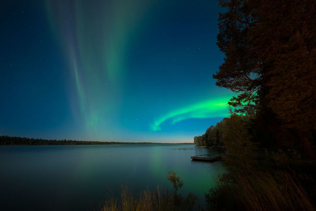 The Northern Lights visible in Autumn in Harriniva, Finnish Lapland