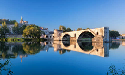Avignon Bridge with Popes Palace in Provence, France