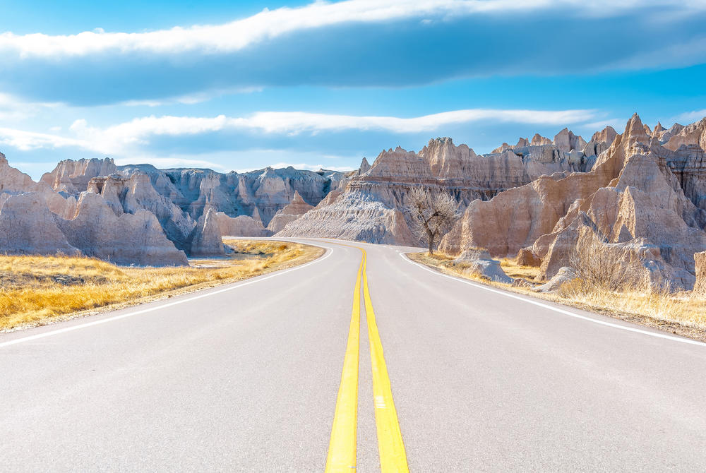 Road through the Badlands, South Dakota