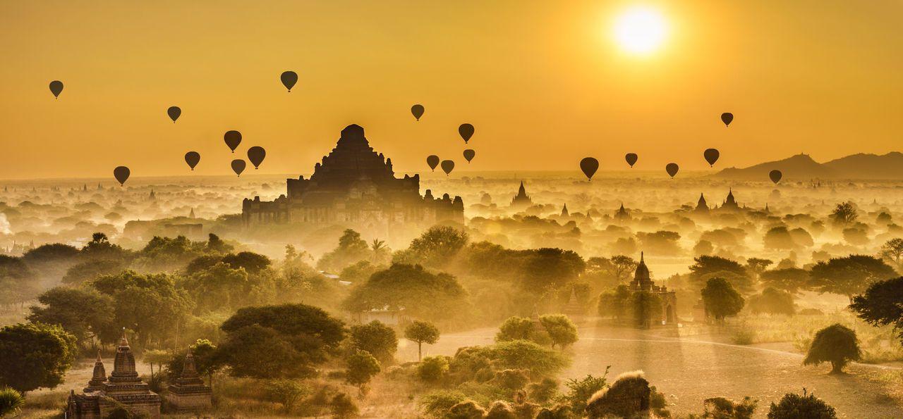 Balloons over Bagan, Myanmar, Burma