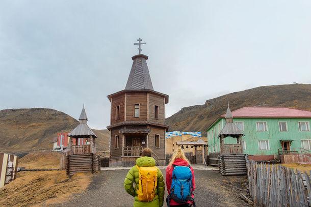Couple at Barentsburg church