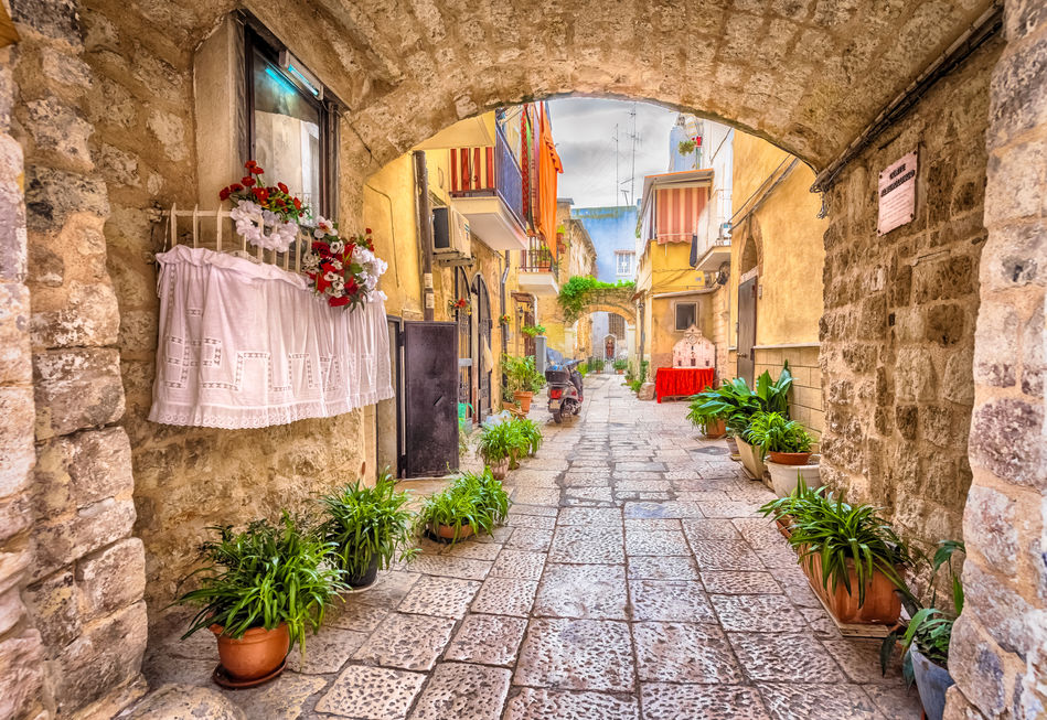 A pretty backstreet in the city of Bari, Puglia, Italy
