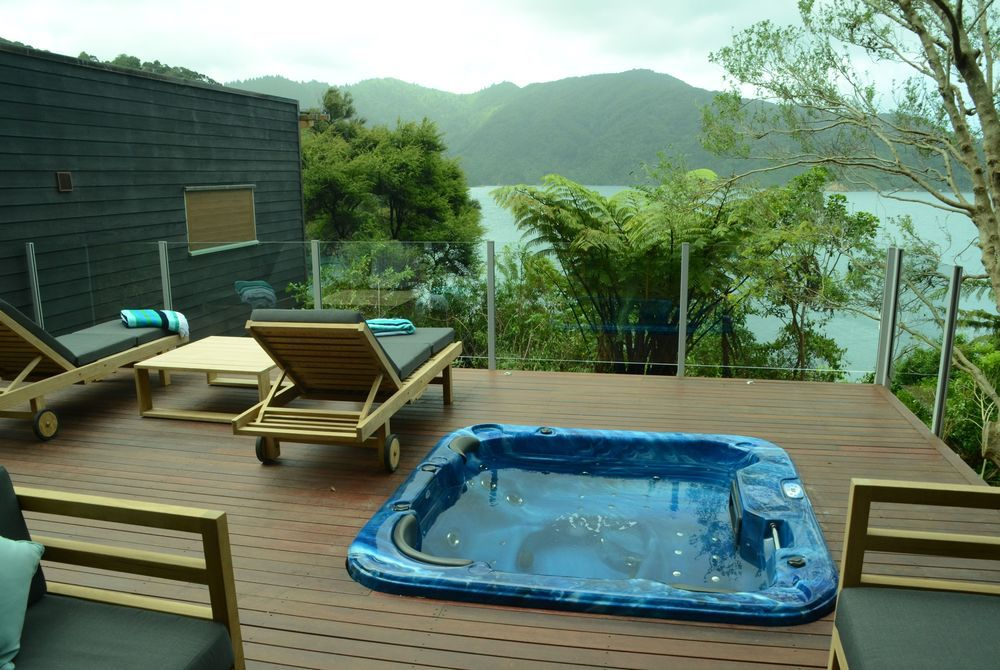 Bay of Many Coves Kereru Suite View from deck spa pool, New Zealand