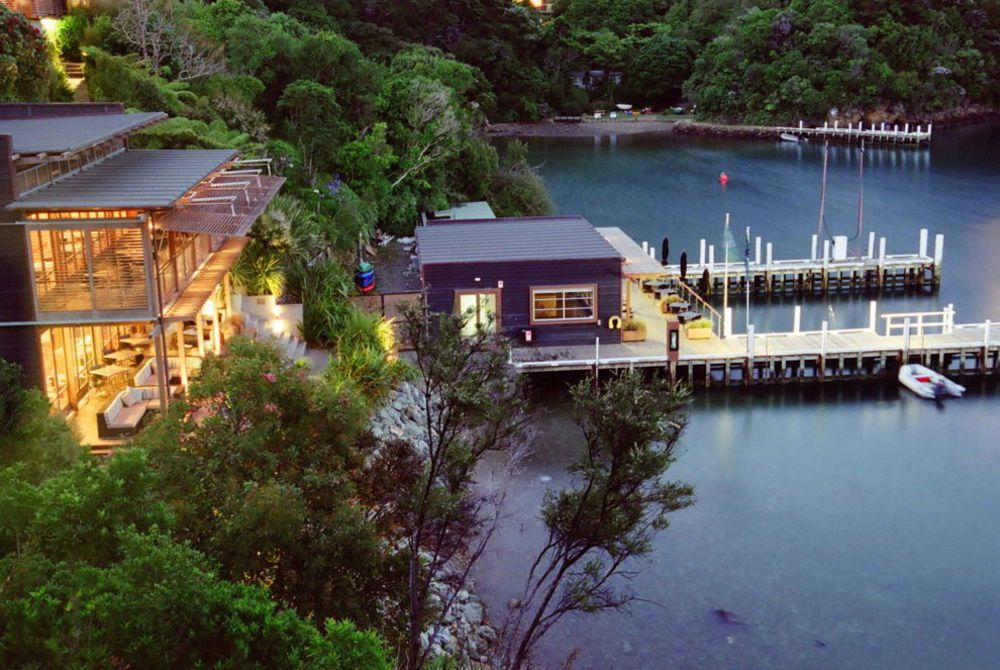 Bay of Many Coves jetty and restaurant, New Zealand