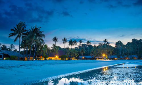 Beach at night, low tide, Bintan