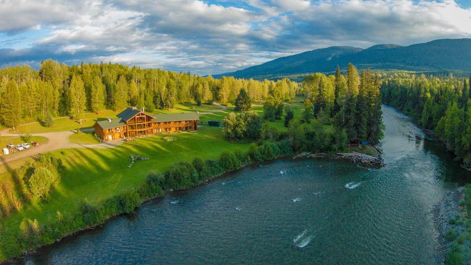 Drone shot of Spirit Bear Lodge, British Columbia
