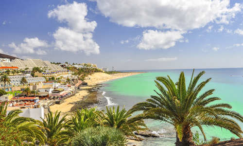 Beautiful beach on the Atlantic Ocean on the island of Fuerteventura