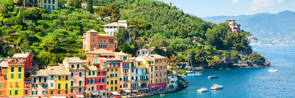 Beautiful sea coast with colorful houses in Portofino, Italy