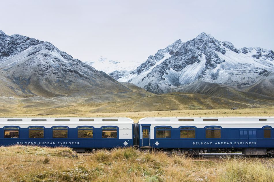 Andean peaks and the Belmond Andean Explorer