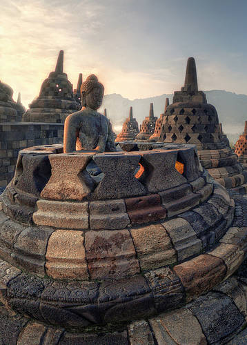 Borobudur at sunrise, Indonesia