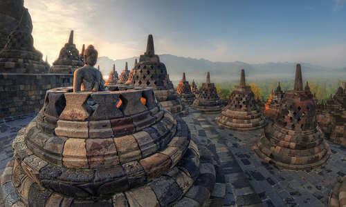 Borobudur at sunrise, Indonesia
