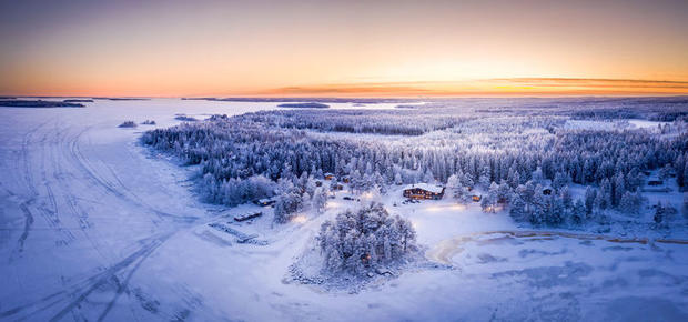 Aerial view of Brandon Lodge in winter in Lulea Swedish Lapland