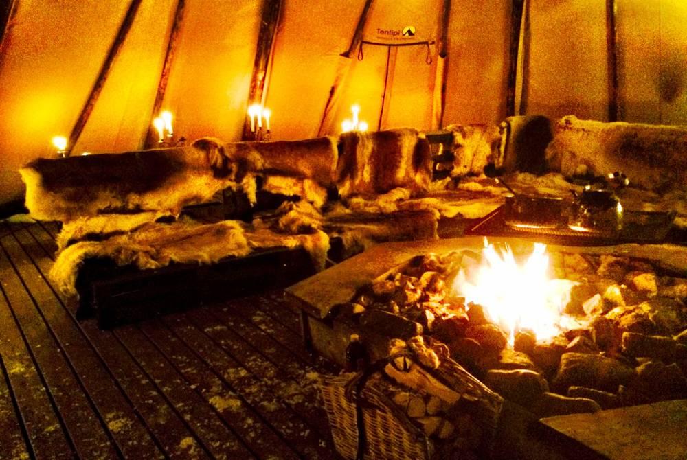 Wilderness dinner by the fire, Brandon Lodge, Swedish Lapland