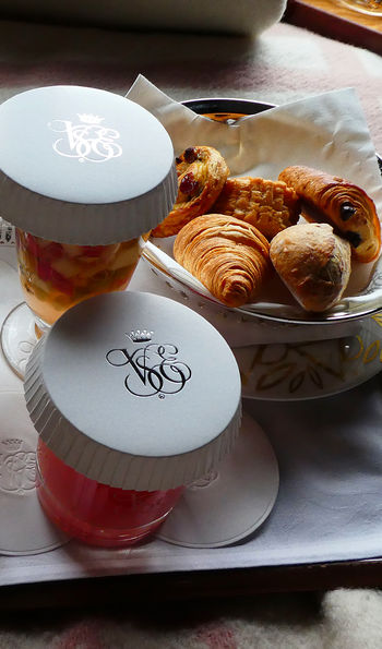 Breakfast on board the Venice Simplon-Orient-Express is a continental affair