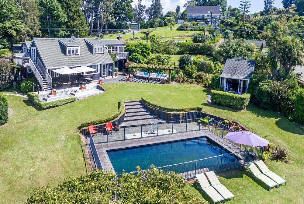Brenton Lodge aerial pool view, New Zealand