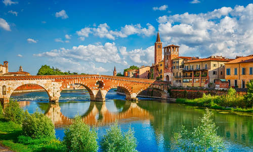 Bridge Ponte Pietra, Adige River, Verona