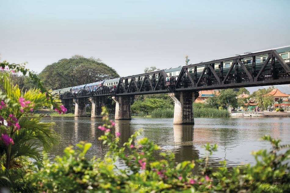 Eastern & Oriental Express across the River Kwai Bridge
