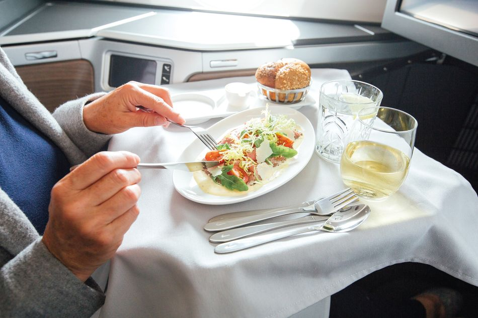 Dining in Club Class on the British Airways Airbus A350