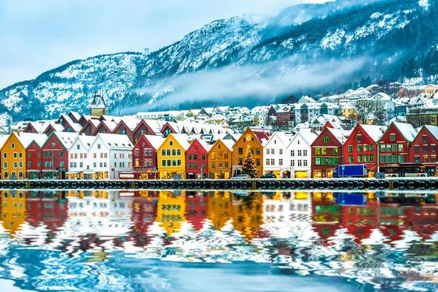 Byrggen, Bergen's Hanseatic wharf in winter