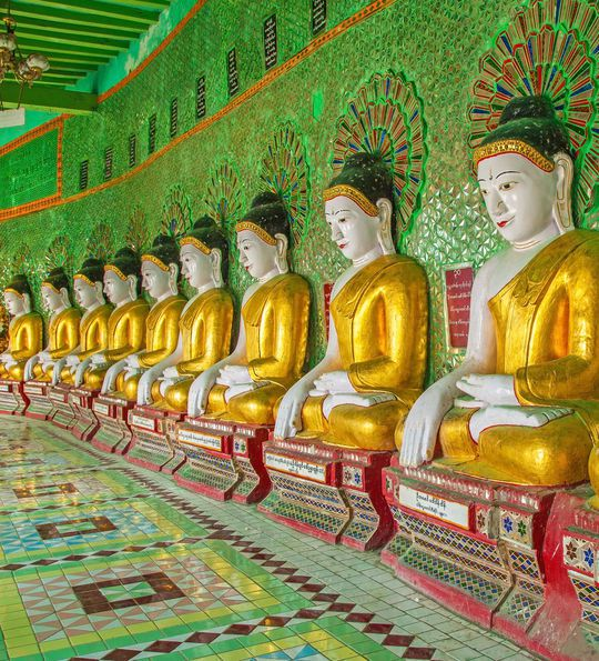 Buddhas in temple, Sagaing Hill, Mandalay, Myanmar