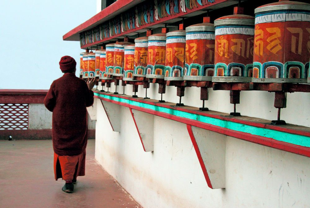 Buddhist Prayer Wheels, Glenburn Tea Estate, Darjeeling