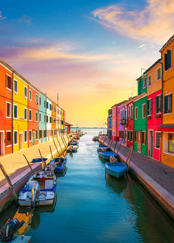 Burano at sunset, Italy
