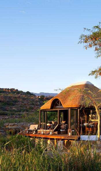 Bushmans Kloof spa overlooking reserve