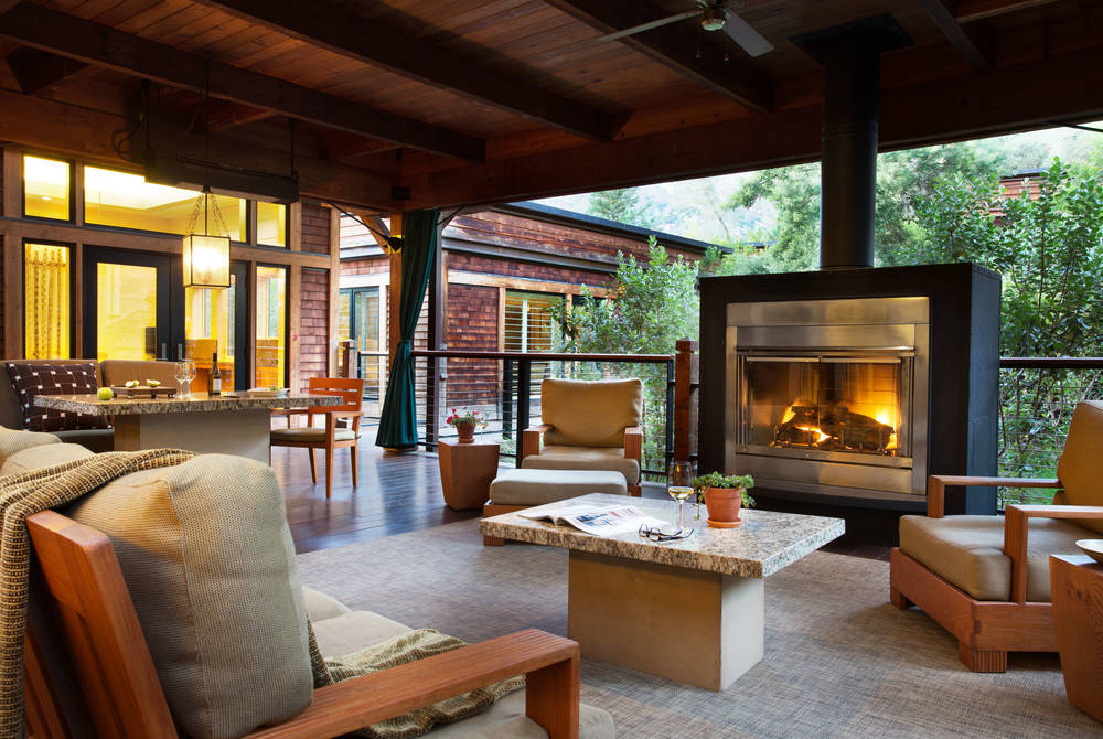 Lodge outdoor living area, Calistoga Ranch, Napa