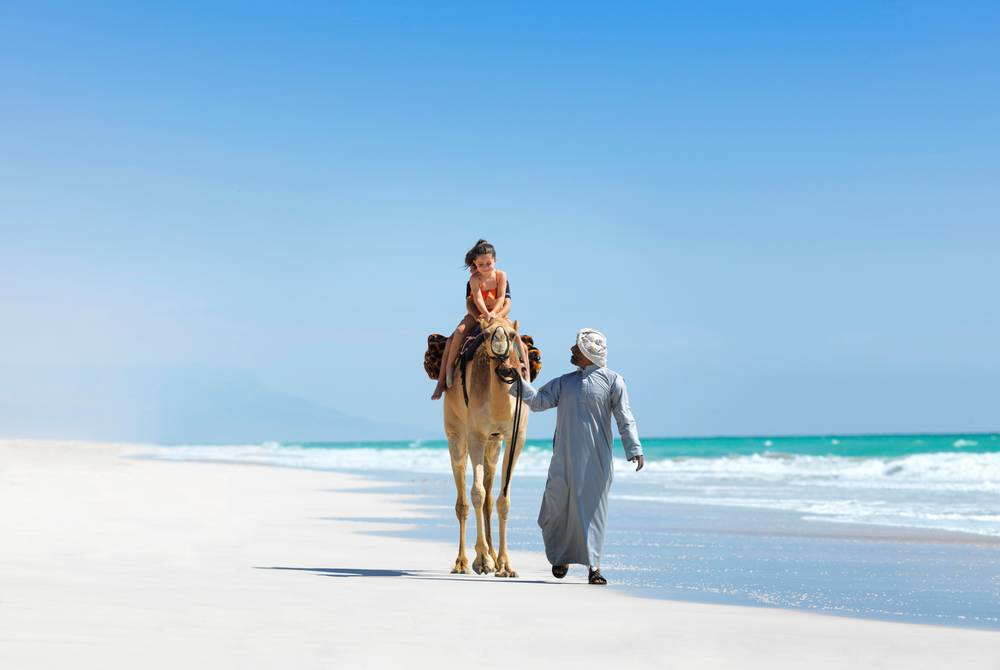 Camel riding on beach, Al Baleed Resort Salalah by Anantara