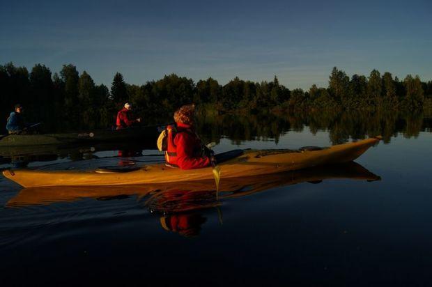 Kayaking under the Northern Lights in Levi, Finnish Lapland