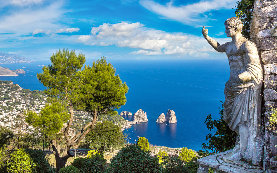 View of Capri's coastline from Roman ruins