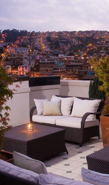 Rooftop garden of Casa Higueras in Valparaíso in Chile