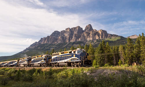 Castle Mountain views from Rocky Mountaineer