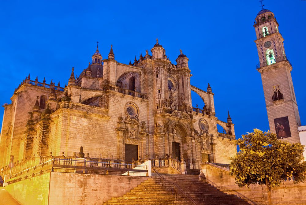 Cathedral in evening in Jerez de la Frontera, Spain