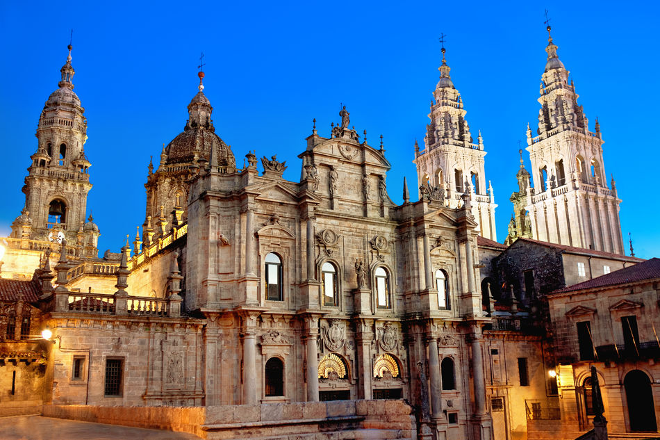 The cathedral of Santiago de Compostela at dusk, Galicia, Spain