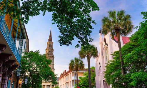 Charleston, South Carolina, USA historic downtown cityscape