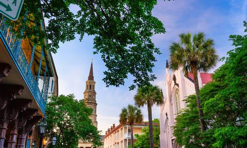 Charleston, South Carolina, USA historic downtown cityscape