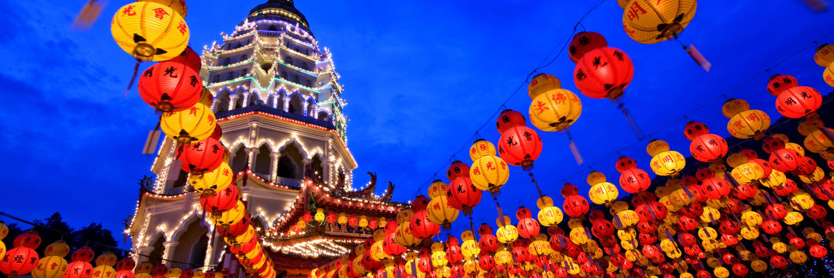 Chinese New Year Decoration at Kek Lok Si Temple, Penang, Malaysia