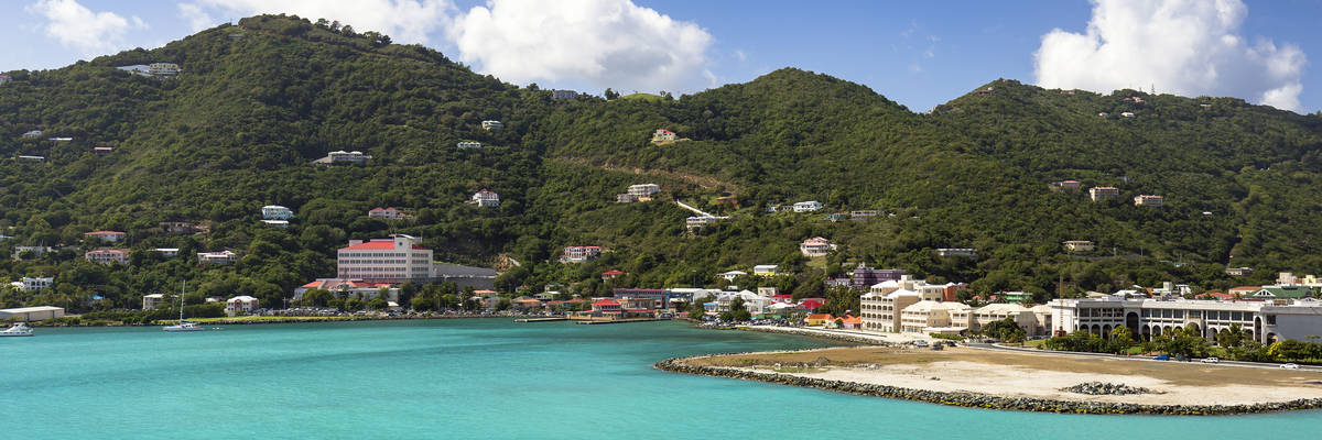 Coastline along a Road Town in Tortola. British Virgin Islands